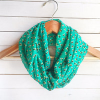 Green Scarf, Infinity Scarf, Floral Scarf, Floral Infinity Scarf, Summer Scarves Chiffon Scarves, Floral Printed