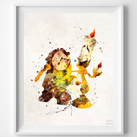 Cogsworth and Lumiere Print, Beauty and the Beast, Watercolor Art, Disney Poster, Nursery Posters, Baby Wall Decor, Christmas Gift