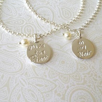You're the Pinot ..to My Noir ..Thai Silver Set of Best Friend Bracelets--Wine Lover Gift/Best Friend Gift