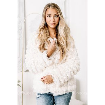 The Snowflake Queen Furry Jacket | Ivory