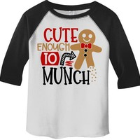 Kids Christmas T Shirt Cookie Cute Enough To Munch Adorable Xmas Tshirt Toddler Boy's Girl's 3/4 Sleeve Raglan