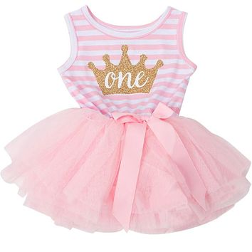 Baby Girl First 1st Birthday Party Little Princess Gold Crown Summer Clothes 1 Year Girl Baptism Clothing