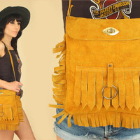ViNtAgE 60's 70's Suede FRINGE Bag // Woodstock Era // Handbag 70's Leather Satchel Purse // Hippie BoHo Summer Festival