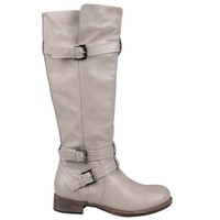 Journee Collection Womens Regular Sized and Wide-Calf Knee-High Buckle Riding Boot Taupe 9 Wide Calf