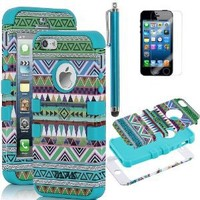 Pandamimi ULAK(TM) 3-Pieces Hybrid High Impact Tribal PC + Silicone Case Cover for Apple iPhone 5S 5 5G with Screen Protector and Stylus (Green+Blue)