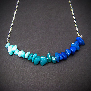 Ombre Necklace, Blue Necklace, Curved Necklace, Stone Necklace, Light Blue, Teal Necklace, Delicate Necklace, Anthropologie Inspired