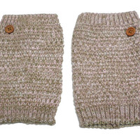 Women's Pink Brown Mix Popcorn Pattern Crochet Knit Button Boot Cuffs, Boot Toppers, NEW COLORS, gift