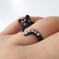Black cat ring, cubic ring, kitty ring   simplecrystal - Jewelry on ArtFire