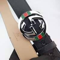 Gucci Classic retro wild simple personality printing silver buckle head belt