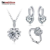 LZESHINE New Fine 2016 Women Romantic Heart Shape AAA Zircon Wedding Jewelry Earring/Necklace/Ring Bridal Jewelry Set CST0033