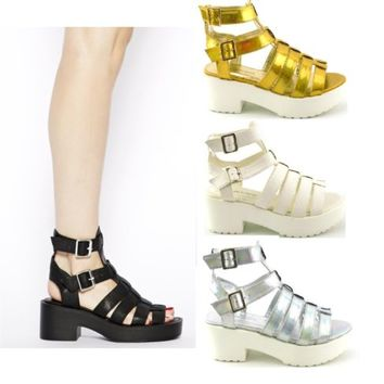 LADIES WOMENS GLADIATOR RETRO CUT OUT CHUNKY LOW BLOCK HEEL SANDALS SHOES SIZE
