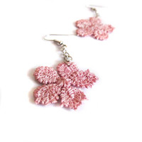Pink lace earrings, dangle earrings, vintage retro long art deco floral goth fabric earrings gift, Lace fashion, Lace jewelry, jewelry