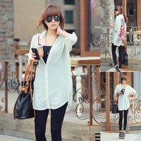 White Floral Back Print Roll Up Sleeve Chiffon Tunic Blouses