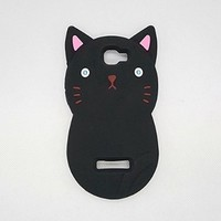3D black cat Cartoon Animal Silicone Phone Case Cover for Alcatel OneTouch Fierce 2 Pop Icon A564c 7040N