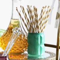 Gold Stripe Paper Straw Set
