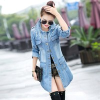 PEONFLY Fashion Vintage Women Trench Coat 2018 Spring Autumn Female Frayed Hole Long Denim Coats Plus Size Femme Jean Outerwear