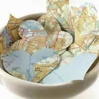 """100 Map Page Hearts, Map Hearts, Vintage Paper Hearts, Recycled Hearts, Travel Theme Wedding, 1 7/8 x 1 1/2"""""""