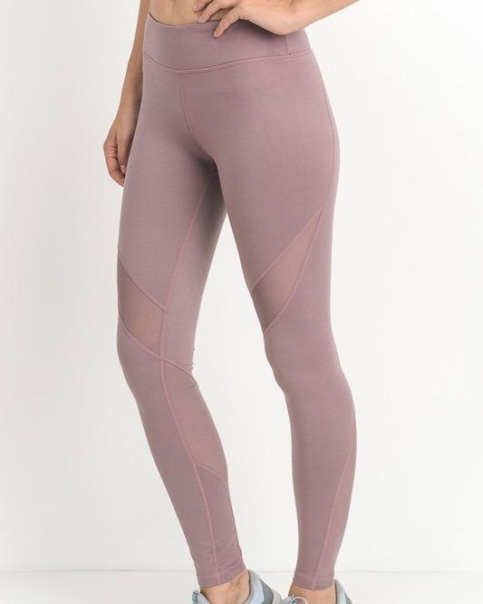 Image of active hearts - athletic leggings with mesh insert - light mauve