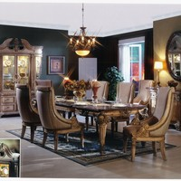 7 pc St Charles I collection Antique white finish wood dining table set with intricate carvings and scoop style chairs