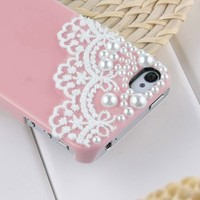 Dexule Baby Pink Fashion Sweety Girls Hand Made Lace and Pearl Hard Case Cover for iPhone 4 4S with Screen Protector