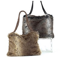 Faux Fur Shopper Bag in Taupe