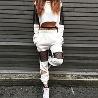 Women Casual Fashion Gauze Stitching Multicolor Hollow Long Sleeve Sweater Crop Tops Trousers Set Two-Piece Sportswear