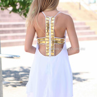 RIGHT TO PARTY DRESS , DRESSES, TOPS, BOTTOMS, JACKETS & JUMPERS, ACCESSORIES, 50% OFF SALE, PRE ORDER, NEW ARRIVALS, PLAYSUIT, COLOUR, GIFT VOUCHER,,White,CUT OUT,Sequin,SHIFT,SLEEVELESS,MINI Australia, Queensland, Brisbane
