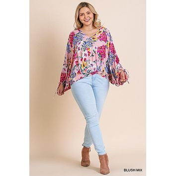 Umgee Plus Size Floral Print Long Puff Sleeve V-Neck Top