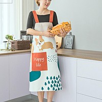 Dog in Winter Linen Full Apron