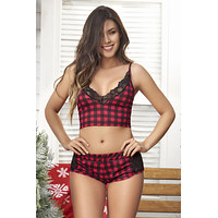 Mapale 7280 Two Piece Pajamas Set. Top and Shorts Color Red Plaid