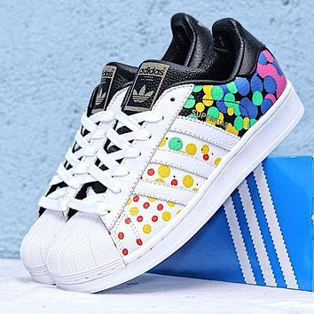 Adidas Superstar New fashion multicolor dot print couple shoes White