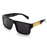 Black Frame Gold Link Hip Hop Sunglasses