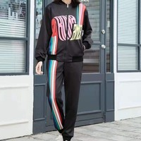"""""""FENDI""""Unisex Leisure Fashion Wild Letter Printing Zipper Spell Color Long Sleeve Tops Elastic Band Trousers Two-Piece Set Casual Wear Sportswear"""