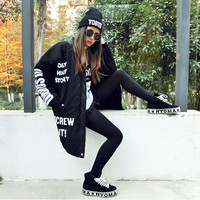 Harajuku style 2015women brand Letters Printed pu leather stitching loose long section padded jackets women clothing winter coat