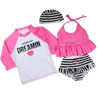 Summer Girls Letter Print Three Pieces Bathing Suits