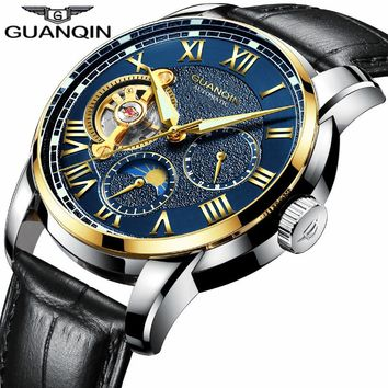 saat New GUANQIN Mens Watches Top Brand Luxury reloj hombre Sport Leather Strap Waterproof