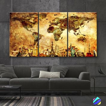 """LARGE 30""""x 60"""" 3 panels 30x20 Ea Art Canvas Print Map World Wonders of the World Old wall  M1842"""