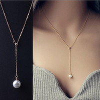 Gold/Sterling Silver Plated Pearl Pendant Necklace Women Jewelry