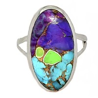 Multi-Color Turquoise Sterling Silver Oval Ring