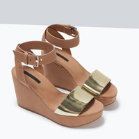 Buckled ankle-strap wedges