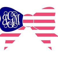"5"" Patriotic Bow Monogram Sticker car decal Fourth of July"