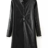 Black Long Sleeve Pu Dress with Buttons