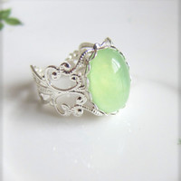 Mint Ring Light Green Ring Silver Filigree Exotic Whimsical LOTR Inspired