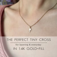 The Perfect Tiny 14k Gold Filled Cross Necklace - Delicate, simple gold cross necklace - Petite layer necklace - Faith necklace