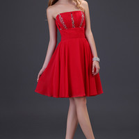 Red  Off Shoulder Beaded Ruched Detail Homecoming Dress