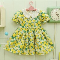 Marcelle Yellow Floral Dress - Dresses
