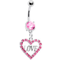 Precious Pink Heart of Love Gem Belly Ring | Body Candy Body Jewelry