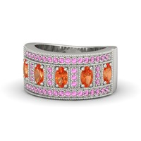 Oval Fire Opal Platinum Ring with Fire Opal & Pink Sapphire