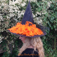 Glamorous Witch Hat with Orange Feathers and Spiders