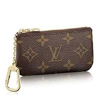 LV Louis Vuitton Popular Unisex Personality Monogram Zipper Canvas Key Pouch I